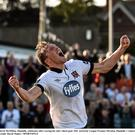 David McMillan, Dundalk, celebrates after scoring his side's third goal