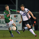 Patrick McEleney accelerates away from Cork City's Kevin O'Connor