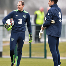 Dundalk's Gary Rogers with Ireland keeper David Forde at training in Abbostown on Tuesday morning