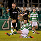 Ronan Finn goes to ground after a tackle from Killian Brennan at Tallaght Stadium on Friday night. Pictures:DavidMaher/SPORTSFILE