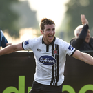 Patrick McEleney celebrates his last-gasp winner against Wexford Youths at Oriel Park on Sunday evening. Photo by Paul Mohan/Sportsfile