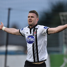 Ciaran Kilduff celebrates after netting a dramatic late winner against Longford Town