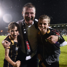 Dundalk manager Stephen Kenny with his two sons, Eoin, left, and Fionn. Photo: David Maher/Sportsfile