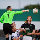 Peter Cherrie clears the danger for Bray Wanderers at the Carlisle Grounds