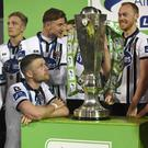 Ciaran Kilduff savours the moment before Dundalk are presented with the SSE Airtricity League Trophy