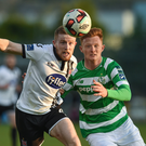 Sean Hoare of Dundalk in action against Gary Shaw of Shamrock Rovers during their SSE Airtricity League Premier Division clash at Tallaght Stadium on Friday. Picture: Matt Browne/SPORTSFILE
