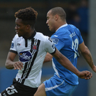 Carlton Ubaezuonu of Dundalk has his shot saved by Ciaran Gallagher of Finn Harps