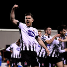 Ronan Murray and his Dundalk teammates celebrate Gary Comeford's own goal, shot from behind the goal. Pictures: Stephen McCarthy / SPORTSFILE