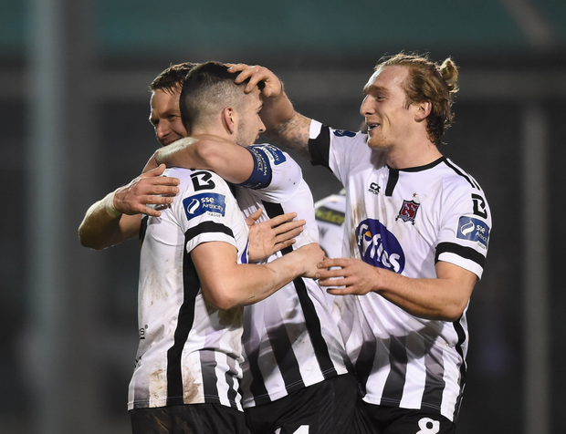 John Mountney celebrates with teammates after scoring his side's second goal at the Carlisle Grounds. Photos: Seb Daly/Sportsfile