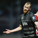 Chris Shields reacts during last week's 4-1 victory over Derry in The Brandywell. Pictures: Sportsfile