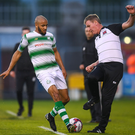 Stephen Kenny tries to avoid Shamrock Rovers' Ethan Boyle as the ball goes out of play during Friday night's clash in Tallaght.