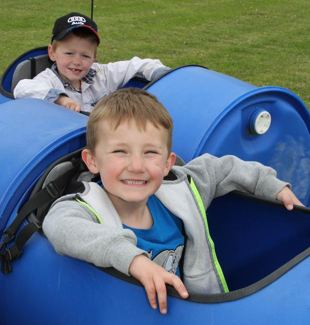 Enjoying the fun ride at the Tullogher Rosbercon Vintage Day in Rosbercon Parish Grounds last Sunday were Adam Duffy and Timmy Murphy