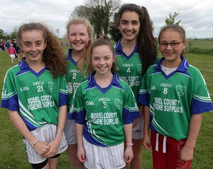 Primary Schools athletic championships in Bree on Wednesday morning. Niamh Cogley, Sinead Kirwan, Aoife Power, Aoibhinn Ferriter and Becky Carroll from Glynn NS