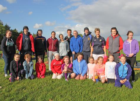 Some of the attendance at the National Hurl Smart Week at the Geraldine O Hanrahan GAA pitch last Friday night