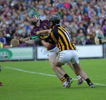 Bord G?is Energy Leinster U21 Hurling Final 2015 in Innovate Wexford Park on Wednesday evening Wexford V Kilkenny. Sam Kelly (Wexford) Conor Martin(Kilkenny)
