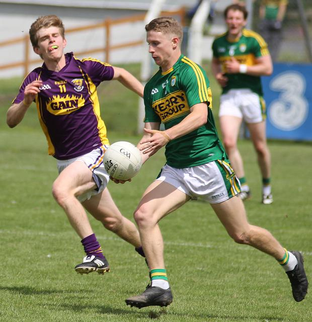 Kerry's Gavin Crowley and Wexford's Donal Shanley
