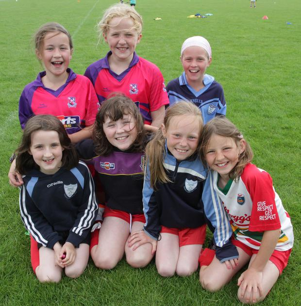Kellogg's GAA C?l Camp St Annes Rathangan Back; Amy Whelan, Orla Byrne and Casey Doyle. Front; Ruby Redmond, Ava Dillon, Faye Murphy and Isabelle Berry