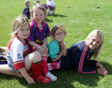 Kellogg's GAA Cul Camp St Marys Tagoat Ella Colgan, Hannah O'brien and Kate Sunderland with Katriona Parrock
