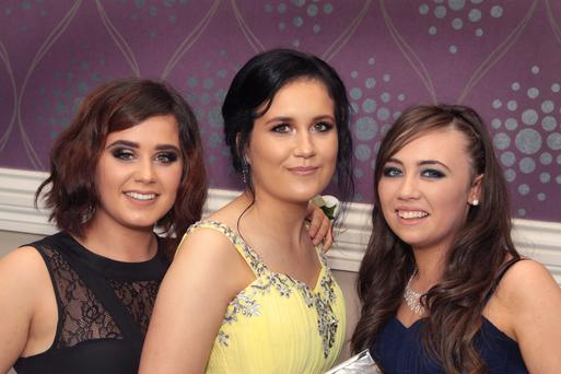 Enniscorthy Vocational School debs grad; Reece Murray, Shannon Maher and Emma Furlong.