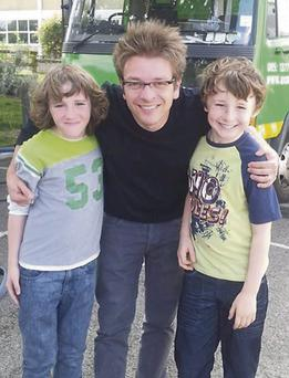 Max Cleary (on the right) who plays the role of 'Joey Dunne', director Christian Ditter (centre) and Art Parkinson (left) who plays the role of 'Gary Dunne' Max's onscreen brother.