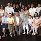 Gerard Cleary celebrating his 90th birthday in the Martello with his wife Joan, children Gerard, Madeleine and Austin and their partners and grandchildren