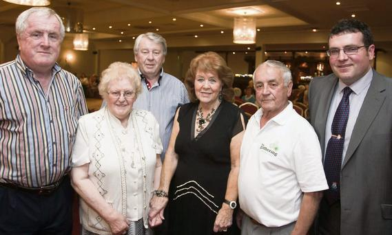 Cllr Pat Fitzgerald, Sr Sabena M.B.E, Noel Mulvey, Queenie Mulvey, chair person Bermingham/ Wicklow irish club, Paddy Finn and Mayor Tommy Annesley at the Arklow/ Bermingham irish club gathering in the Arklow Bay Hotel