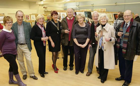 Jude Kiernan, Harry Sterlinh, Annette Hynes, Patricia Wojnar, Cedric Fisher, Peggy and Bat Masterson, Elizabeth Fisher and Neville Keery at the Marino School Art Exhibition.