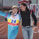 Taron Egerton and Hugh Jackman in Eddie the Eagle
