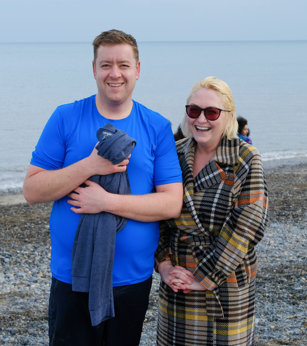 Andrew Sullivan and Tanith Kelly at the New Year's Day swim in Bray