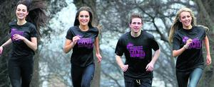 Warming up for the Fit Magazine-City Series Run at the Phoenix Park yesterday was Brian Maher, Rozanne Purcell, Rosanna Davison and Daniella Moyles.  Pic Steve Humphreys