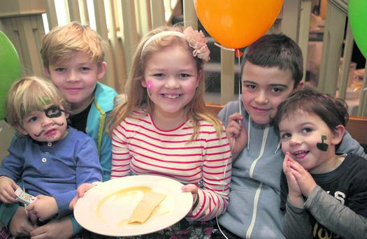 Pancake Tuesday for Bray Cancer Support at the Martello: (L-R) Josh, Noah and Charlotte Fortune and Jake and Ben Austin