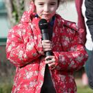 Pictured at the raising of the Active Flag at St Fergals school was Naoise Murphy talking about what her class did to help achieve the flag