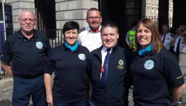 John Hopkins, Sharon Carey, Martin Hayes, Mark Callanan (NAS) and Anne Marie-Hayes at Dublin Castle after the National Services Day parade.