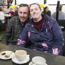 Ger Flynn and Claire Byrne enjoying the Bray Lakers coffee morning at the Martello