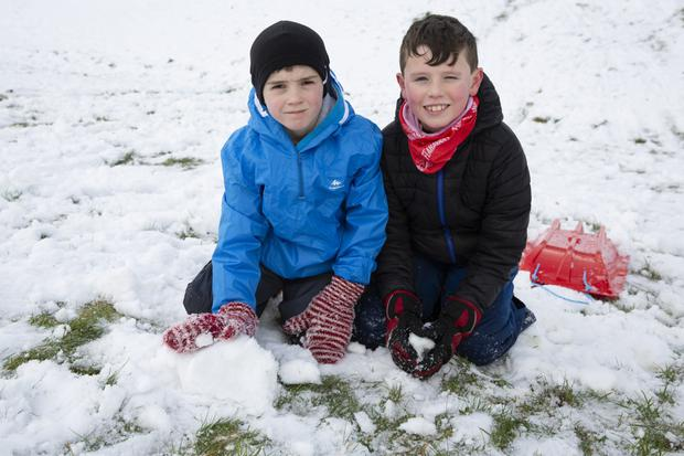 Jack Higgins and Oisín Donnellan were out playing in the snow at the upper dam at the Vartry Reservoir.