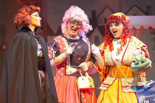 Action from Roundwood Variety Group's Panto 'Cinderella': from left - Saibhe Smith (Stepmother) with ugly sisters Alex Brady (Griselda) and Eddie Cullen (Amnesia