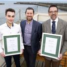 Recently Bray Sailing Club won the Volvo Irish Sailing Training Centre of the Year 2018 and head instructor Jack Hannon won the inclusion award 2018: from left - Jack Hannon, Cllr Stephen Matthews and Commodore Boris Fennema