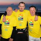 Aidan Keogh, Simon Byrne and John Devitt taking part in the Darkness into Light walk in Bray