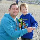 Philip and Tom McGovern at the kite flying event on Bray beach for World Narcolepsy Day