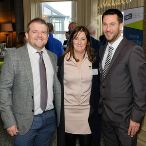 Graham Carton and Paul Doyle of Permanent TSB with Clare Stewart of Alpha CC at the Bray Chamber networking event in the Martello