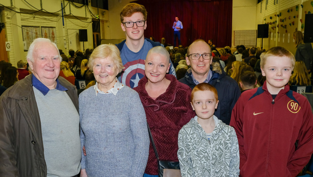 Damien and Mary Kiernan with Sam, Sheila, Kenneth, Cian and Calum Fairley at the production of 'Footloose' at St David's Greystones