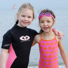 Emma Brien and Keira McDonagh who were among the very brave younger swimmers taking to the cold water at the New Year's Day swim in Bray