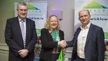 CEO of Wicklow County Council Frank Curran, Cathaoirleach of Wicklow County Council Irene Winters and Mike Seaton of SSE Renewables at the Wicklow County Council Business Breakfast Briefing held in the Druids Glen Hotel