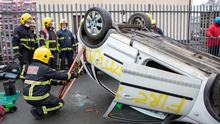 Trainee accident responders get to grips with stabilising a car