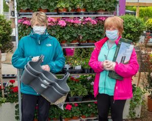 Carolyn Brady and Liz Kelly out shopping at Horkan's Garden Centre, which re-opened on Monday