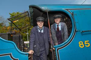 Steam train stops at Wicklow Train Station, May 2019. Wicklow man steam train driver Connie O'Gara and Nicky Cox (left)
