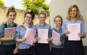 Students celebrating their results in 2018.