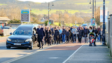 The funeral cortege of Philip Doyle coming up Boghall Road towards St Fergal's Church in Bray