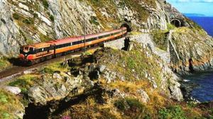 A train travelling along Bray Head