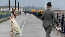 The wedding couple on Bray seafront